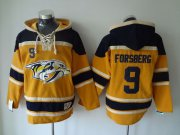 Wholesale Cheap Predators #9 Filip Forsberg Yellow Sawyer Hooded Sweatshirt Stitched NHL Jersey