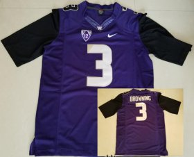 Wholesale Cheap Men\'s Washington Huskies #3 Jake Browning Purple Limited Stitched College Football 2016 Nike NCAA Jersey