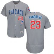 Wholesale Cubs #23 Ryne Sandberg Grey Flexbase Authentic Collection Road Stitched Baseball Jersey
