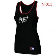 Wholesale Cheap Women's Nike Los Angeles Dodgers Tri-Blend Racerback Stretch Tank Top Black