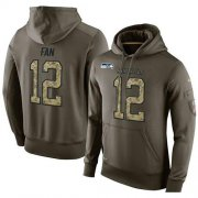 Wholesale Cheap NFL Men's Nike Seattle Seahawks #12 Fan Stitched Green Olive Salute To Service KO Performance Hoodie