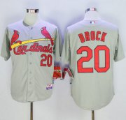 Wholesale Cheap Cardinals #20 Lou Brock Grey Cool Base Stitched MLB Jersey