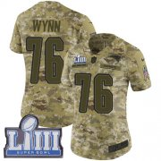 Wholesale Cheap Nike Patriots #76 Isaiah Wynn Camo Super Bowl LIII Bound Women's Stitched NFL Limited 2018 Salute to Service Jersey