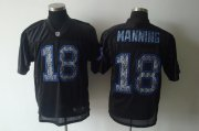 Wholesale Cheap Sideline Black United Colts #18 Peyton Manning Black Stitched NFL Jersey
