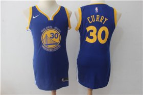 Wholesale Cheap Nike Golden State Warriors #30 Stephen Curry Blue Women Swingman Jersey