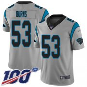 Wholesale Cheap Nike Panthers #53 Brian Burns Silver Men's Stitched NFL Limited Inverted Legend 100th Season Jersey