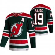 Wholesale Cheap New Jersey Devils #19 Travis Zajac Green Men's Adidas 2020-21 Reverse Retro Alternate NHL Jersey