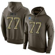 Wholesale Cheap NFL Men's Nike Dallas Cowboys #77 Tyron Smith Stitched Green Olive Salute To Service KO Performance Hoodie