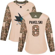 Wholesale Cheap Adidas Sharks #8 Joe Pavelski Camo Authentic 2017 Veterans Day Women's Stitched NHL Jersey