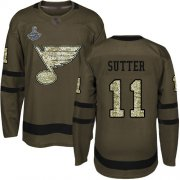 Wholesale Cheap Adidas Blues #11 Brian Sutter Green Salute to Service Stanley Cup Champions Stitched NHL Jersey