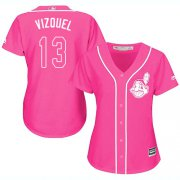 Wholesale Cheap Indians #13 Omar Vizquel Pink Fashion Women's Stitched MLB Jersey