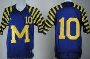 Wholesale Cheap Michigan Wolverines #10 Tom Brady Navy Blue Under The Lights Jersey