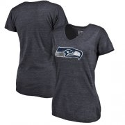 Wholesale Cheap Women's Seattle Seahawks NFL Pro Line by Fanatics Branded Navy Distressed Team Logo Tri-Blend T-Shirt