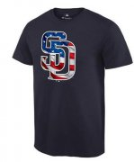 Wholesale Cheap Men's San Diego Padres USA Flag Fashion T-Shirt Navy Blue