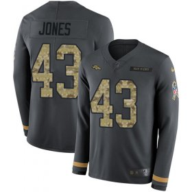 Wholesale Cheap Nike Broncos #43 Joe Jones Anthracite Salute to Service Youth Stitched NFL Limited Therma Long Sleeve Jersey