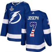 Cheap Adidas Lightning #7 Mathieu Joseph Blue Home Authentic USA Flag Youth 2020 Stanley Cup Champions Stitched NHL Jersey