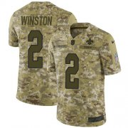 Wholesale Cheap Nike Saints #2 Jameis Winston Camo Youth Stitched NFL Limited 2018 Salute To Service Jersey
