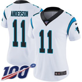 Wholesale Cheap Nike Panthers #11 Robby Anderson White Women\'s Stitched NFL 100th Season Vapor Untouchable Limited Jersey