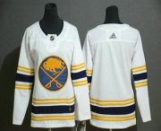 Wholesale Cheap Youth Buffalo Sabres Blank White With Gold 50th Anniversary Adidas Stitched NHL Jersey