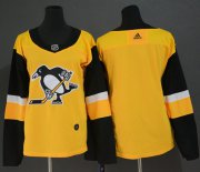 Wholesale Cheap Adidas Penguins Blank Gold Alternate Authentic Women's Stitched NHL Jersey