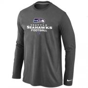 Wholesale Cheap Nike Seattle Seahawks Critical Victory Long Sleeve T-Shirt Dark Grey