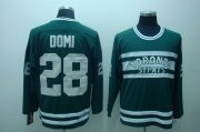 Wholesale Cheap Maple Leafs #28 Tie Domi Stitched Green CCM Throwback NHL Jersey