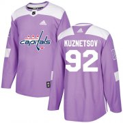 Wholesale Cheap Adidas Capitals #92 Evgeny Kuznetsov Purple Authentic Fights Cancer Stitched Youth NHL Jersey
