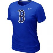 Wholesale Cheap Women's MLB Boston Red Sox Heathered Nike Blended T-Shirt Blue
