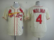 Wholesale Cheap Cardinals #4 Yadier Molina Cream Alternate Cool Base Stitched MLB Jersey