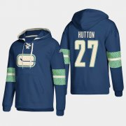 Wholesale Cheap Vancouver Canucks #27 Ben Hutton Blue adidas Lace-Up Pullover Hoodie