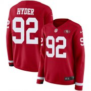 Wholesale Cheap Nike 49ers #92 Kerry Hyder Red Team Color Women's Stitched NFL Limited Therma Long Sleeve Jersey