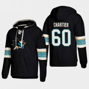 Wholesale Cheap San Jose Sharks #60 Rourke Chartier Black adidas Lace-Up Pullover Hoodie