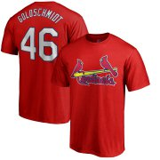 Wholesale Cheap St. Louis Cardinals #46 Paul Goldschmidt Majestic Official Name & Number T-Shirt Red