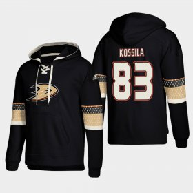Wholesale Cheap Anaheim Ducks #83 Kalle Kossila Black adidas Lace-Up Pullover Hoodie