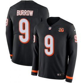 Wholesale Cheap Nike Bengals #9 Joe Burrow Black Team Color Men\'s Stitched NFL Limited Therma Long Sleeve Jersey