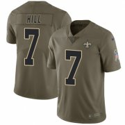 Wholesale Cheap Nike Saints #7 Taysom Hill Olive Men's Stitched NFL Limited 2017 Salute To Service Jersey