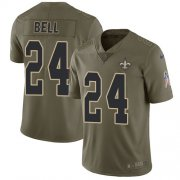 Wholesale Cheap Nike Saints #24 Vonn Bell Olive Youth Stitched NFL Limited 2017 Salute to Service Jersey