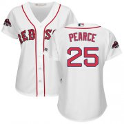 Wholesale Cheap Red Sox #25 Steve Pearce White Home 2018 World Series Champions Women's Stitched MLB Jersey