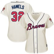 Wholesale Cheap Braves #32 Cole Hamels Cream Alternate Women's Stitched MLB Jersey