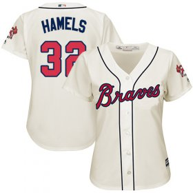 Wholesale Cheap Braves #32 Cole Hamels Cream Alternate Women\'s Stitched MLB Jersey