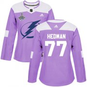 Cheap Adidas Lightning #77 Victor Hedman Purple Authentic Fights Cancer Women's 2020 Stanley Cup Champions Stitched NHL Jersey