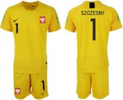 Wholesale Cheap Poland #1 Szczesny Yellow Goalkeeper Soccer Country Jersey
