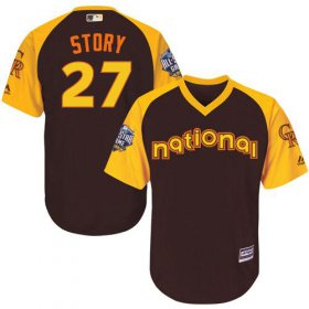 Wholesale Cheap Rockies #27 Trevor Story Brown 2016 All-Star National League Stitched Youth MLB Jersey