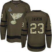 Wholesale Cheap Adidas Blues #23 Dmitrij Jaskin Green Salute to Service Stanley Cup Champions Stitched NHL Jersey