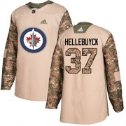 Wholesale Cheap Adidas Jets #37 Connor Hellebuyck Camo Authentic 2017 Veterans Day Stitched NHL Jersey
