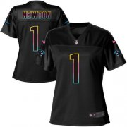 Wholesale Cheap Nike Panthers #1 Cam Newton Black Women's NFL Fashion Game Jersey