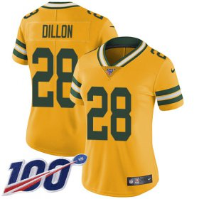 Wholesale Cheap Nike Packers #28 AJ Dillon Yellow Women\'s Stitched NFL Limited Rush 100th Season Jersey