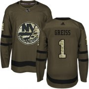 Wholesale Cheap Adidas Islanders #1 Thomas Greiss Green Salute to Service Stitched NHL Jersey
