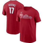 Wholesale Cheap Philadelphia Phillies #17 Rhys Hoskins Nike Name & Number T-Shirt Red