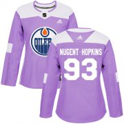 Wholesale Cheap Adidas Oilers #93 Ryan Nugent-Hopkins Purple Authentic Fights Cancer Women's Stitched NHL Jersey